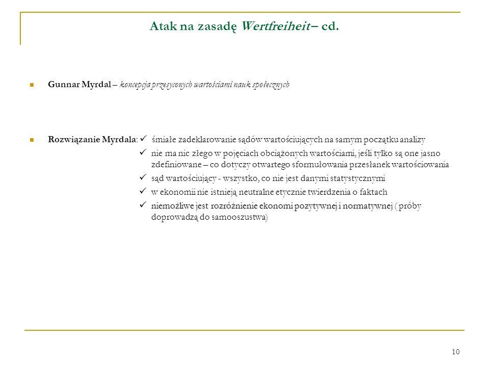 10 Atak na zasadę Wertfreiheit – cd. Gunnar Myrdal – koncepcja przesyconych wartościami nauk społecznych Rozwiązanie Myrdala: śmiałe zadeklarowanie są