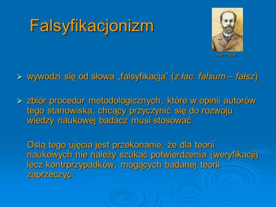 Falsyfikacjonizm wywodzi się od słowa falsyfikacja (z łac. falsum – fałsz) wywodzi się od słowa falsyfikacja (z łac. falsum – fałsz) zbiór procedur me