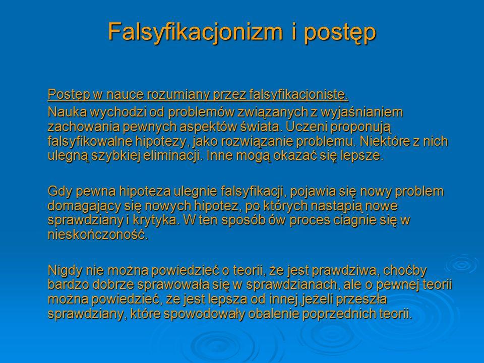 Falsyfikacjonizm i postęp Postęp w nauce rozumiany przez falsyfikacjonistę. Nauka wychodzi od problemów związanych z wyjaśnianiem zachowania pewnych a