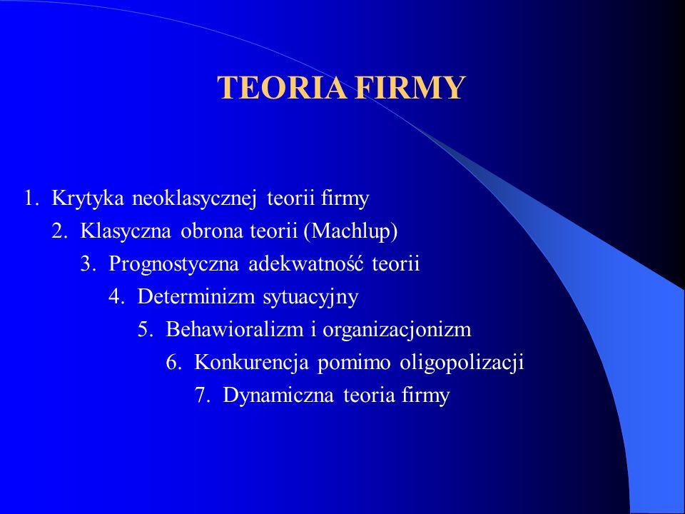 TEORIA FIRMY 1. Krytyka neoklasycznej teorii firmy 2. Klasyczna obrona teorii (Machlup) 3. Prognostyczna adekwatność teorii 4. Determinizm sytuacyjny