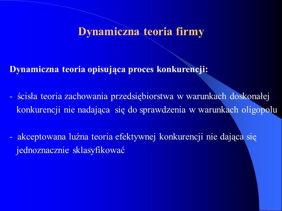 Dynamiczna teoria opisująca proces konkurencji: - ścisła teoria zachowania przedsiębiorstwa w warunkach doskonałej konkurencji nie nadająca się do sprawdzenia w warunkach oligopolu - akceptowana luźna teoria efektywnej konkurencji nie dająca się jednoznacznie sklasyfikować Dynamiczna teoria firmy