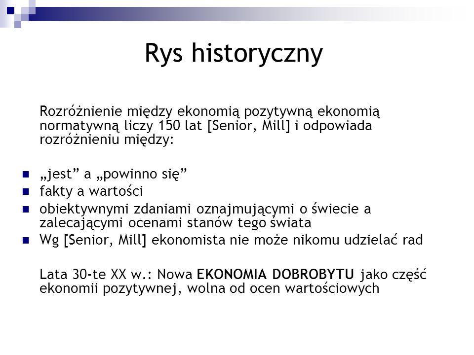 Rys historyczny Rozróżnienie między ekonomią pozytywną ekonomią normatywną liczy 150 lat [Senior, Mill] i odpowiada rozróżnieniu między: jest a powinn