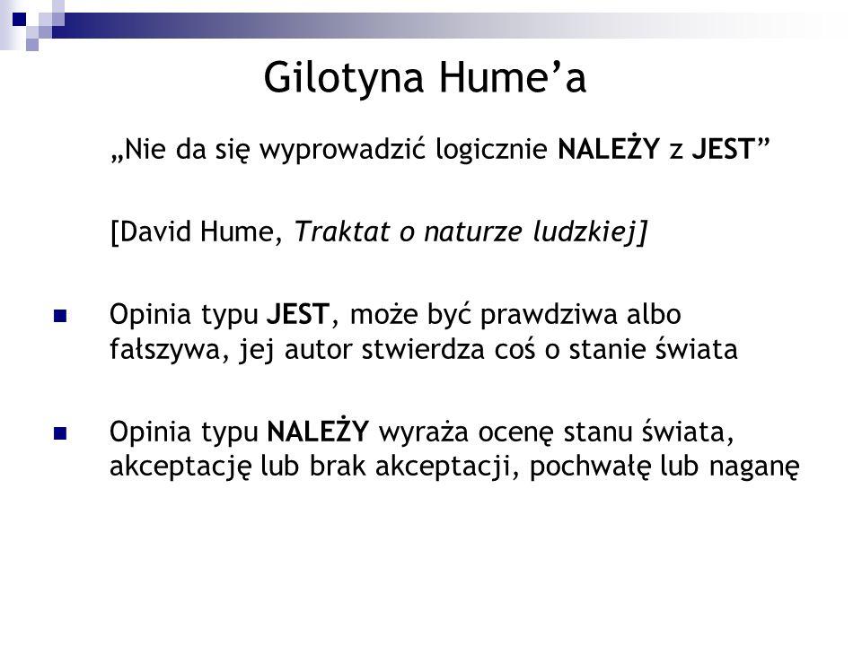 Gilotyna Humea Nie da się wyprowadzić logicznie NALEŻY z JEST [David Hume, Traktat o naturze ludzkiej] Opinia typu JEST, może być prawdziwa albo fałsz