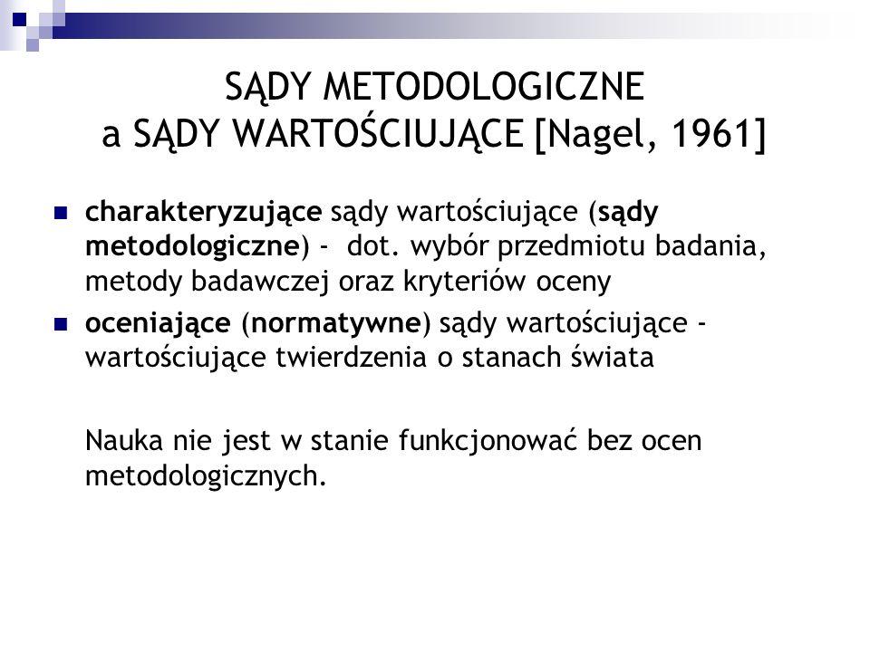 SĄDY METODOLOGICZNE a SĄDY WARTOŚCIUJĄCE [Nagel, 1961] charakteryzujące sądy wartościujące (sądy metodologiczne) - dot. wybór przedmiotu badania, meto