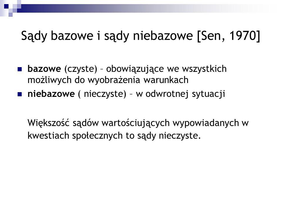Sądy bazowe i sądy niebazowe [Sen, 1970] bazowe (czyste) – obowiązujące we wszystkich możliwych do wyobrażenia warunkach niebazowe ( nieczyste) – w od