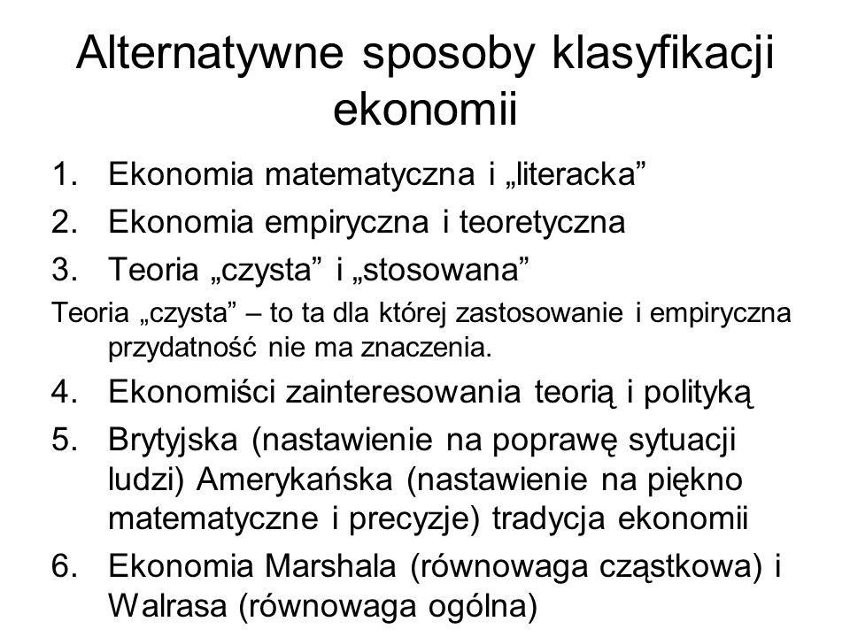 Alternatywne sposoby klasyfikacji ekonomii 1.Ekonomia matematyczna i literacka 2.Ekonomia empiryczna i teoretyczna 3.Teoria czysta i stosowana Teoria