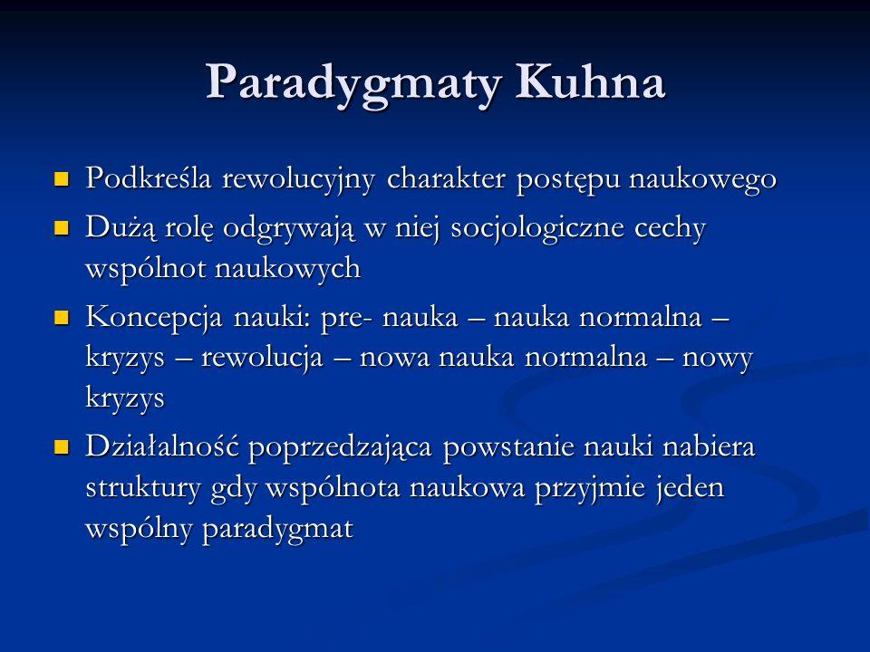 Paradygmat składa się z założeń teoretycznych, praw i technik ich stosowania Paradygmat składa się z założeń teoretycznych, praw i technik ich stosowania Pracę w ramach danego paradygmatu Kuhn nazywa nauką normalną Pracę w ramach danego paradygmatu Kuhn nazywa nauką normalną W trakcie prac napotykają na trudności i falsyfikacje, które rozwijają się w kryzys W trakcie prac napotykają na trudności i falsyfikacje, które rozwijają się w kryzys Kryzys ulega rozwiązaniu gdy pojawi się całkiem nowy paradygmat, zmiana ta nazywana jest rewolucją naukową Kryzys ulega rozwiązaniu gdy pojawi się całkiem nowy paradygmat, zmiana ta nazywana jest rewolucją naukową