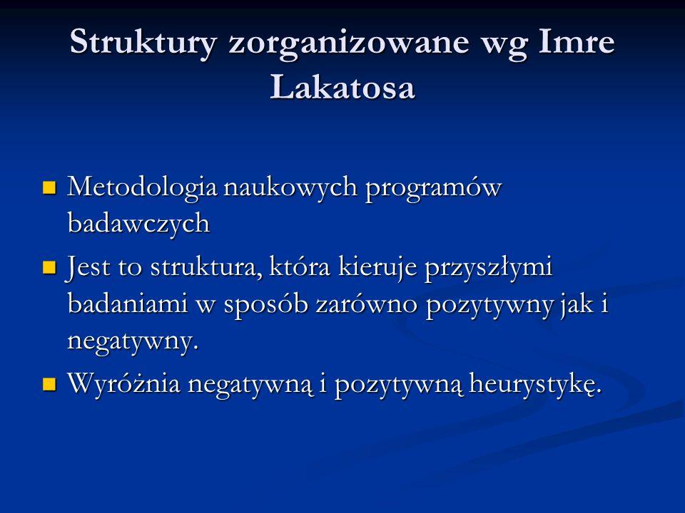 Struktury zorganizowane wg Imre Lakatosa Metodologia naukowych programów badawczych Metodologia naukowych programów badawczych Jest to struktura, któr