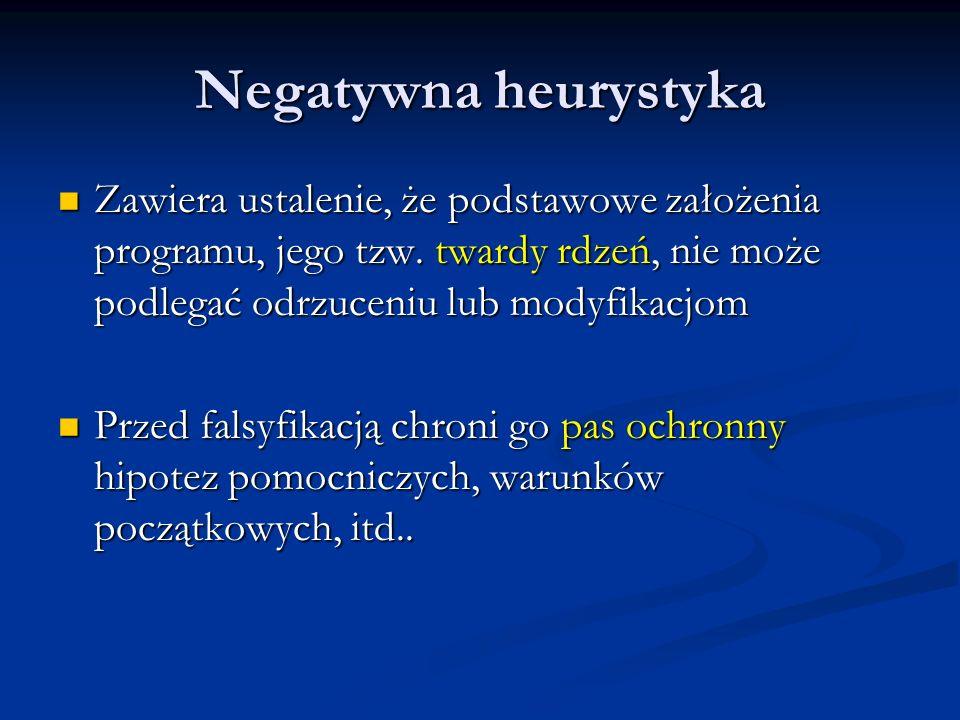 Negatywna heurystyka Zawiera ustalenie, że podstawowe założenia programu, jego tzw. twardy rdzeń, nie może podlegać odrzuceniu lub modyfikacjom Zawier