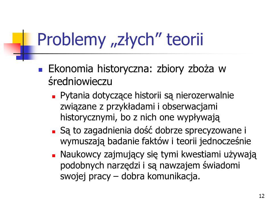 12 Problemy złych teorii Ekonomia historyczna: zbiory zboża w średniowieczu Pytania dotyczące historii są nierozerwalnie związane z przykładami i obse