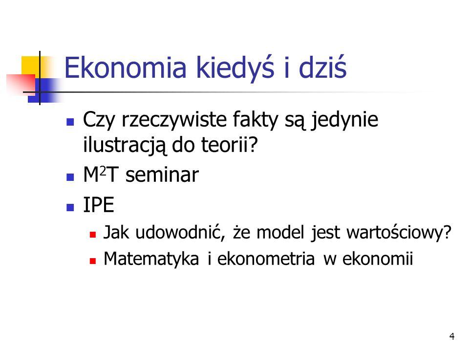 4 Ekonomia kiedyś i dziś Czy rzeczywiste fakty są jedynie ilustracją do teorii? M 2 T seminar IPE Jak udowodnić, że model jest wartościowy? Matematyka