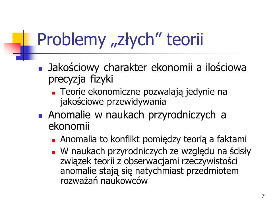 7 Problemy złych teorii Jakościowy charakter ekonomii a ilościowa precyzja fizyki Teorie ekonomiczne pozwalają jedynie na jakościowe przewidywania Ano