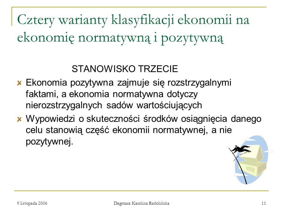 9 listopada 2006 Dagmara Karolina Radolińska 11 Cztery warianty klasyfikacji ekonomii na ekonomię normatywną i pozytywną STANOWISKO TRZECIE Ekonomia p