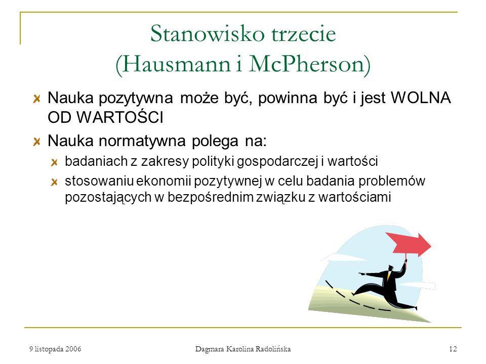 9 listopada 2006 Dagmara Karolina Radolińska 12 Stanowisko trzecie (Hausmann i McPherson) Nauka pozytywna może być, powinna być i jest WOLNA OD WARTOŚ