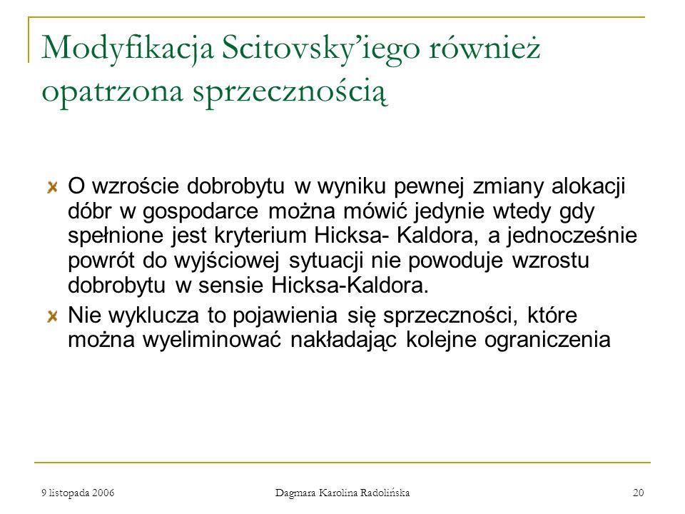9 listopada 2006 Dagmara Karolina Radolińska 20 Modyfikacja Scitovskyiego również opatrzona sprzecznością O wzroście dobrobytu w wyniku pewnej zmiany