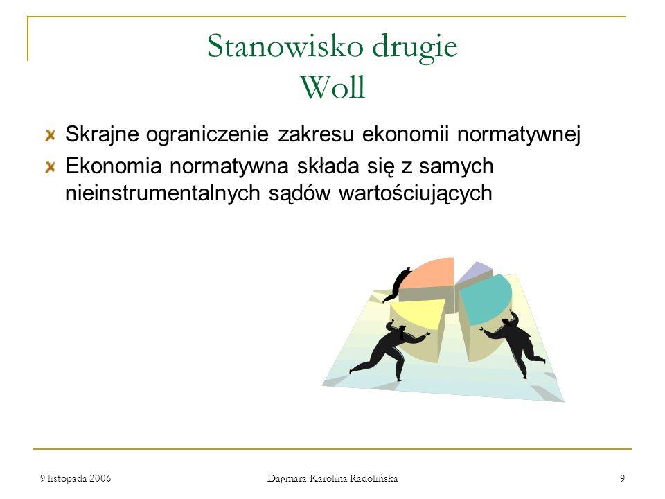 9 listopada 2006 Dagmara Karolina Radolińska 9 Stanowisko drugie Woll Skrajne ograniczenie zakresu ekonomii normatywnej Ekonomia normatywna składa się