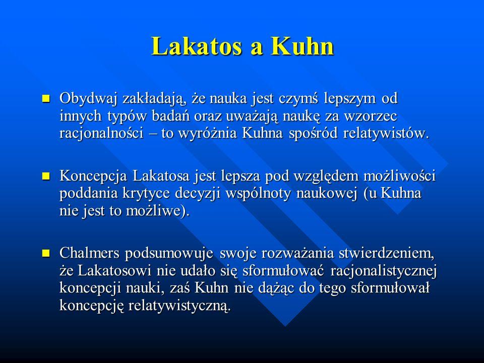 Lakatos a Kuhn Obydwaj zakładają, że nauka jest czymś lepszym od innych typów badań oraz uważają naukę za wzorzec racjonalności – to wyróżnia Kuhna sp
