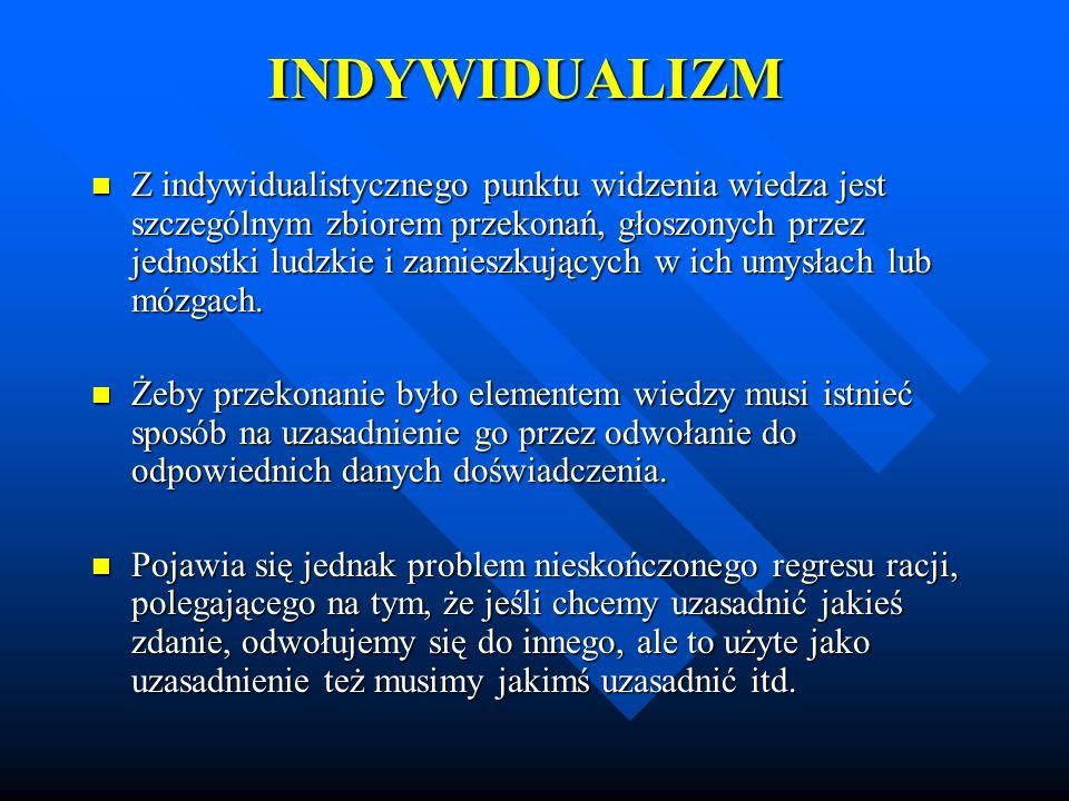 INDYWIDUALIZM Z indywidualistycznego punktu widzenia wiedza jest szczególnym zbiorem przekonań, głoszonych przez jednostki ludzkie i zamieszkujących w