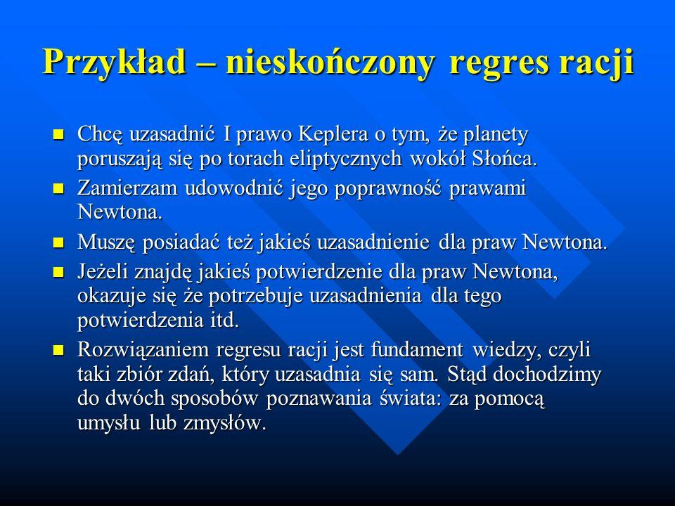 Przykład – nieskończony regres racji Chcę uzasadnić I prawo Keplera o tym, że planety poruszają się po torach eliptycznych wokół Słońca. Chcę uzasadni