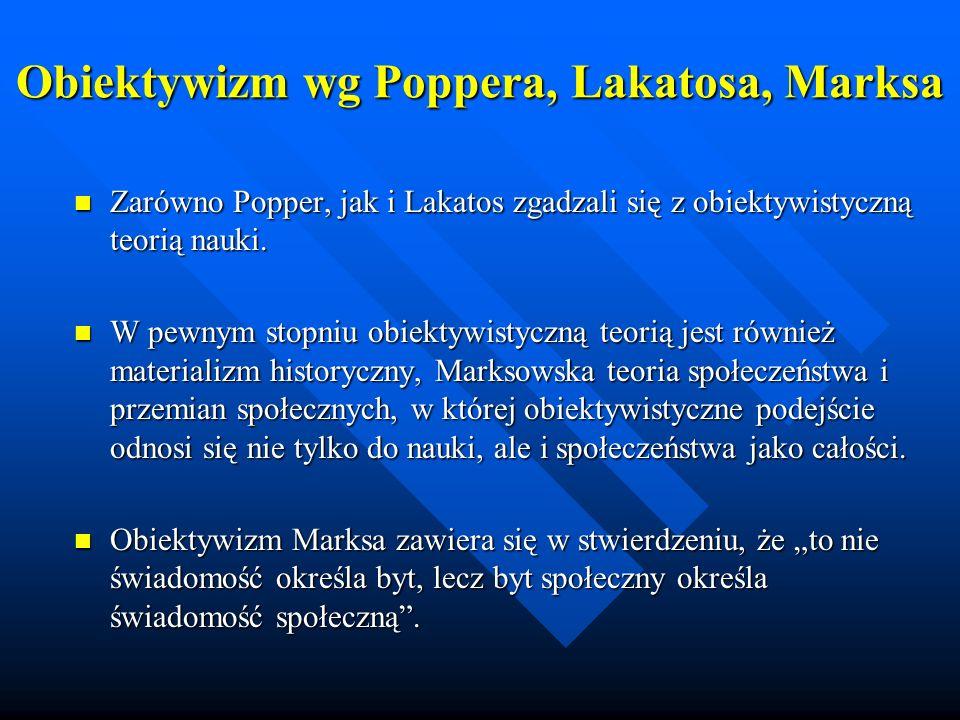 Obiektywizm wg Poppera, Lakatosa, Marksa Zarówno Popper, jak i Lakatos zgadzali się z obiektywistyczną teorią nauki. Zarówno Popper, jak i Lakatos zga