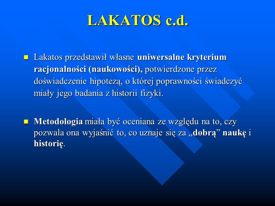 LAKATOS c.d. Lakatos przedstawił własne uniwersalne kryterium racjonalności (naukowości), potwierdzone przez doświadczenie hipotezą, o której poprawno