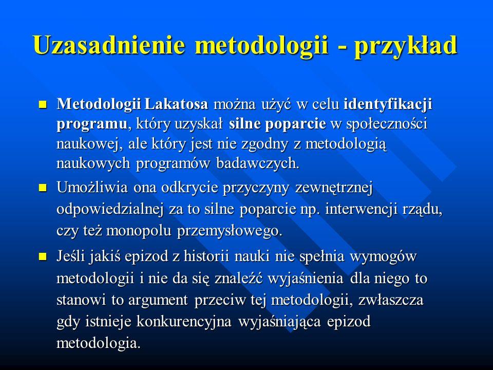 Krytyka metodologii Lakatosa Metodologia Lakatosa nie oferuje żadnej porady naukowcom, którzy chcą przyczynić się do postępu naukowego.