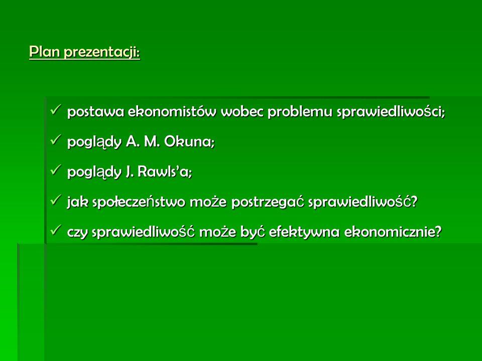 Plan prezentacji: postawa ekonomistów wobec problemu sprawiedliwo ś ci; postawa ekonomistów wobec problemu sprawiedliwo ś ci; pogl ą dy A. M. Okuna; p