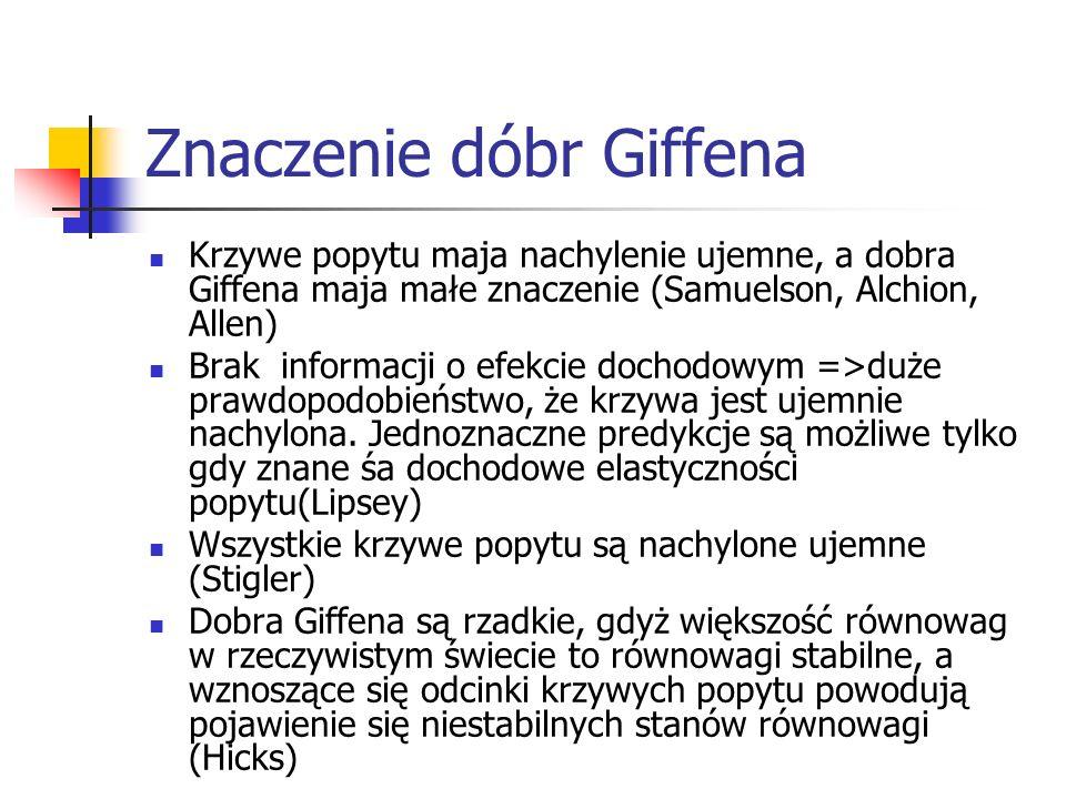 Znaczenie dóbr Giffena Krzywe popytu maja nachylenie ujemne, a dobra Giffena maja małe znaczenie (Samuelson, Alchion, Allen) Brak informacji o efekcie