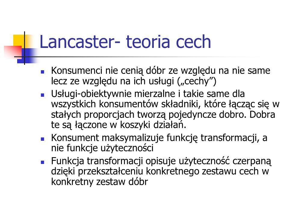 Lancaster- teoria cech Konsumenci nie cenią dóbr ze względu na nie same lecz ze względu na ich usługi (cechy) Usługi-obiektywnie mierzalne i takie sam