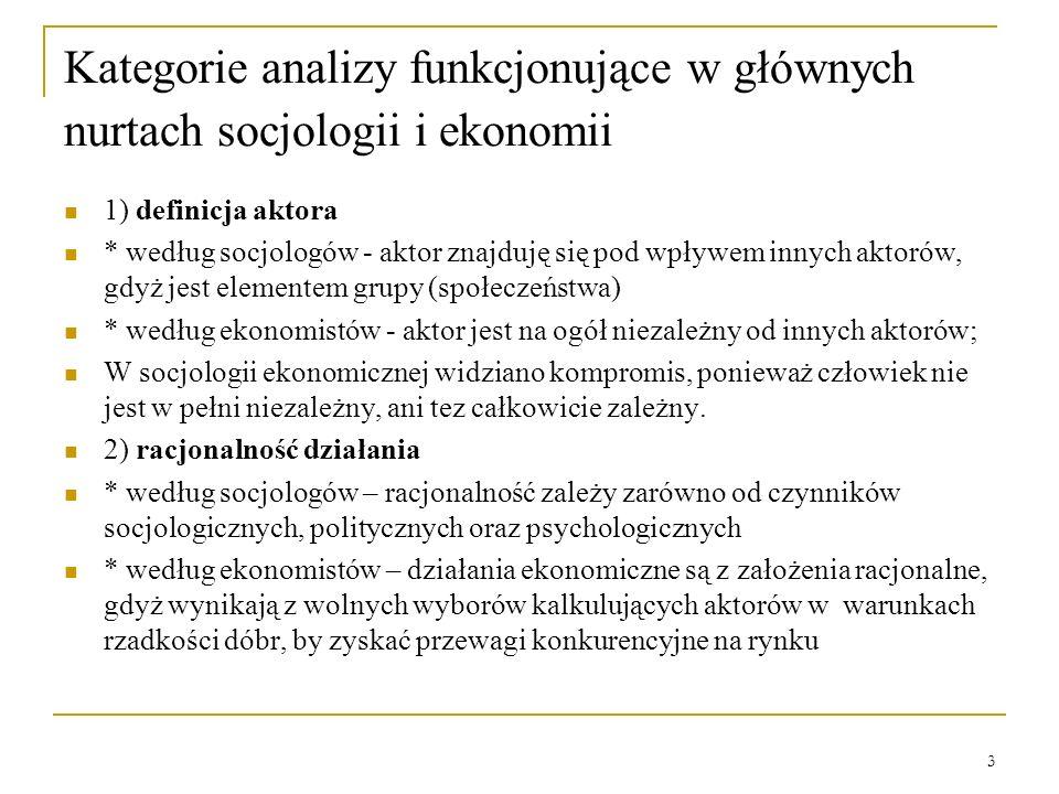 3 Kategorie analizy funkcjonujące w głównych nurtach socjologii i ekonomii 1) definicja aktora * według socjologów - aktor znajduję się pod wpływem in