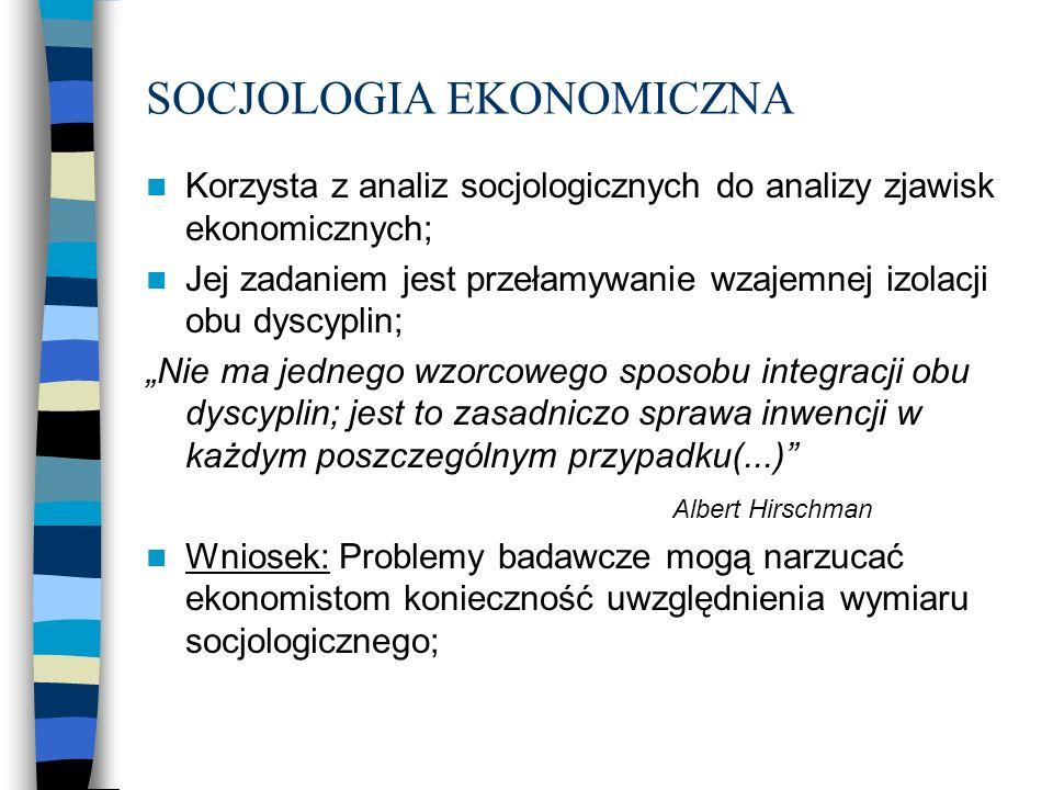 Różnice między socjologią a ekonomią Socjologia Definicja aktora Element grupy Racjonalność Zależy od czynników socjologicznych, politycznych oraz psychologicznych Ekonomia jest częścią społeczeństwa i formą działania społecznego Ekonomia Niezależna jednostka Działania są z założenia racjonalne – wynik wolnego wyboru kalkulujących aktorów w warunkach rzadkości dóbr Społeczeństwo jest czymś danym; jest tworem wyłącznie rynkowym Związki ekonomii i społeczeństwa
