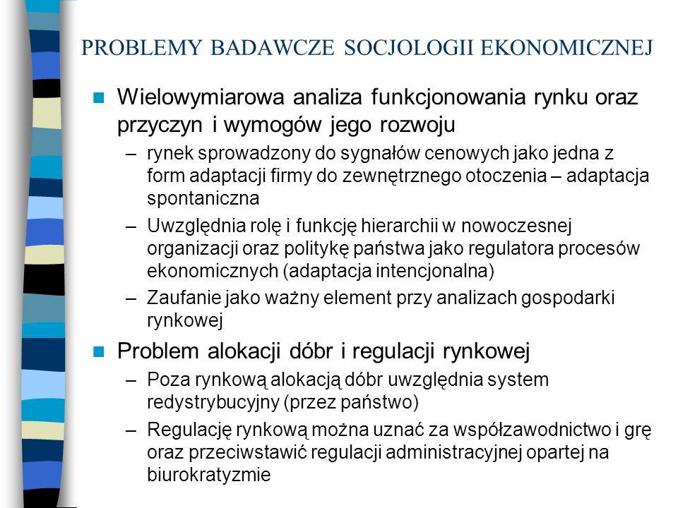 PROBLEMY BADAWCZE SOCJOLOGII EKONOMICZNEJ Wielowymiarowa analiza funkcjonowania rynku oraz przyczyn i wymogów jego rozwoju –rynek sprowadzony do sygna
