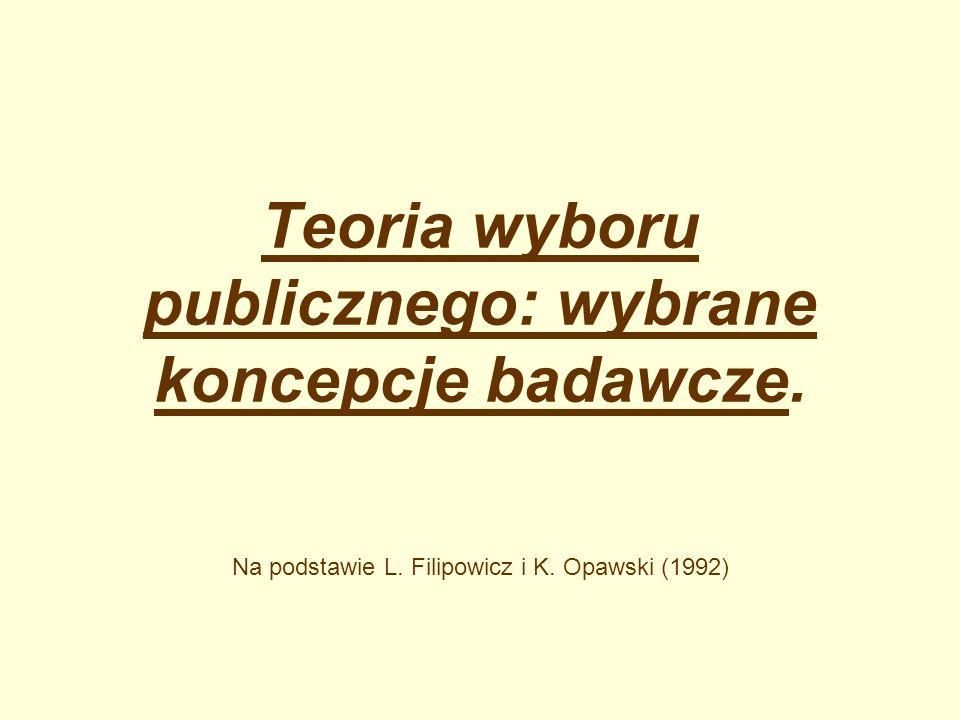 Teoria wyboru publicznego: wybrane koncepcje badawcze. Na podstawie L. Filipowicz i K. Opawski (1992)