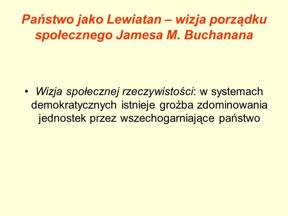 Państwo jako Lewiatan – wizja porządku społecznego Jamesa M. Buchanana Wizja społecznej rzeczywistości: w systemach demokratycznych istnieje groźba zd