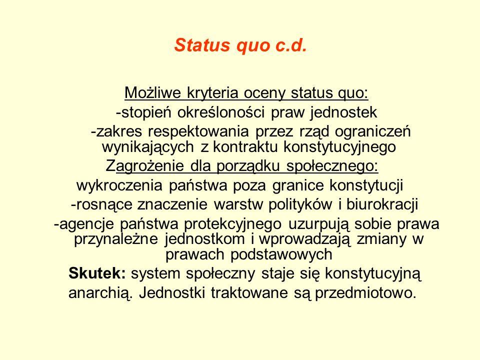 Status quo c.d. Możliwe kryteria oceny status quo: -stopień określoności praw jednostek -zakres respektowania przez rząd ograniczeń wynikających z kon