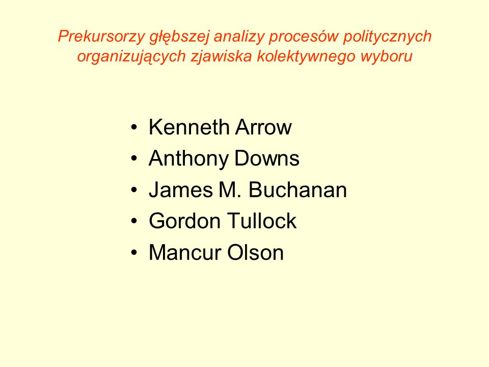Prekursorzy głębszej analizy procesów politycznych organizujących zjawiska kolektywnego wyboru Kenneth Arrow Anthony Downs James M. Buchanan Gordon Tu