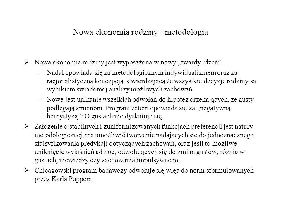 Nowa ekonomia rodziny - metodologia Nowa ekonomia rodziny jest wyposażona w nowy twardy rdzeń.