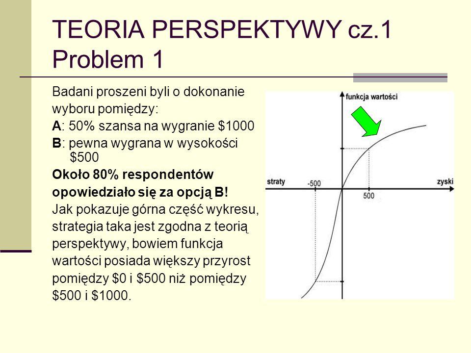 TEORIA PERSPEKTYWY cz.1 Problem 1 Badani proszeni byli o dokonanie wyboru pomiędzy: A: 50% szansa na wygranie $1000 B: pewna wygrana w wysokości $500