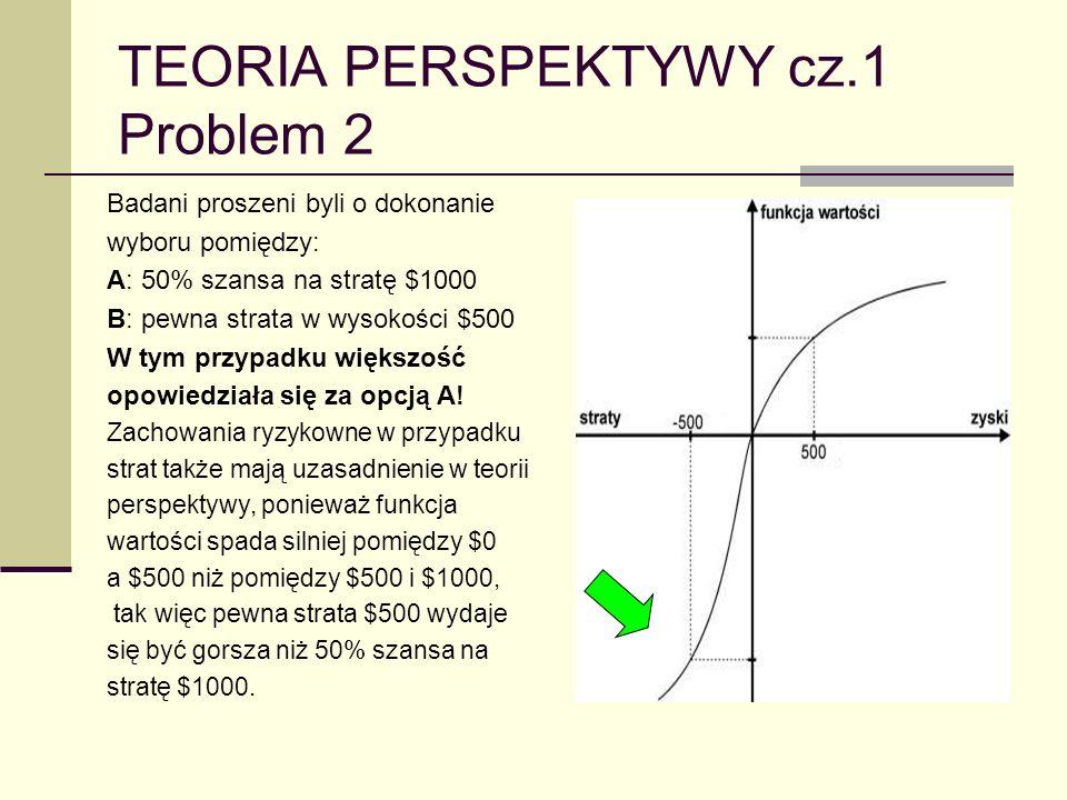 TEORIA PERSPEKTYWY cz.1 Problem 2 Badani proszeni byli o dokonanie wyboru pomiędzy: A: 50% szansa na stratę $1000 B: pewna strata w wysokości $500 W t
