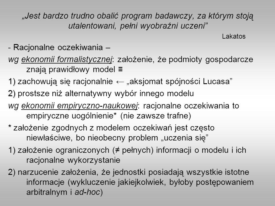 Jest bardzo trudno obalić program badawczy, za którym stoją utalentowani, pełni wyobraźni uczeni Lakatos Racjonalne oczekiwania - Racjonalne oczekiwan