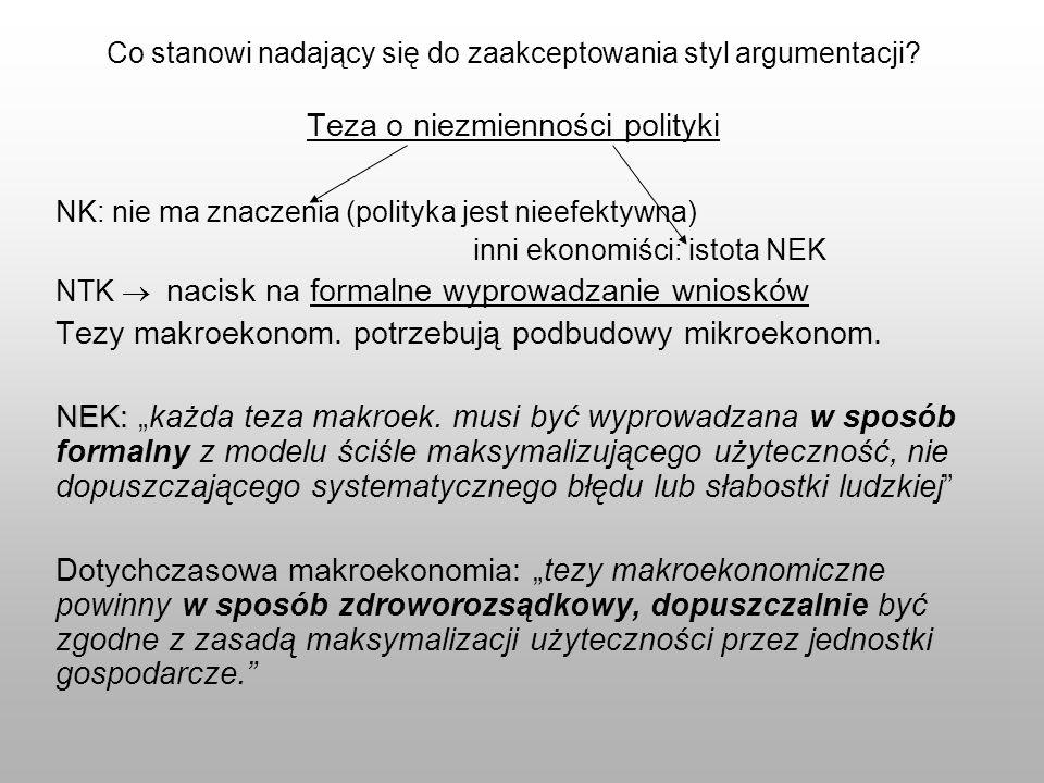 Co stanowi nadający się do zaakceptowania styl argumentacji? Teza o niezmienności polityki NK: nie ma znaczenia (polityka jest nieefektywna) inni ekon