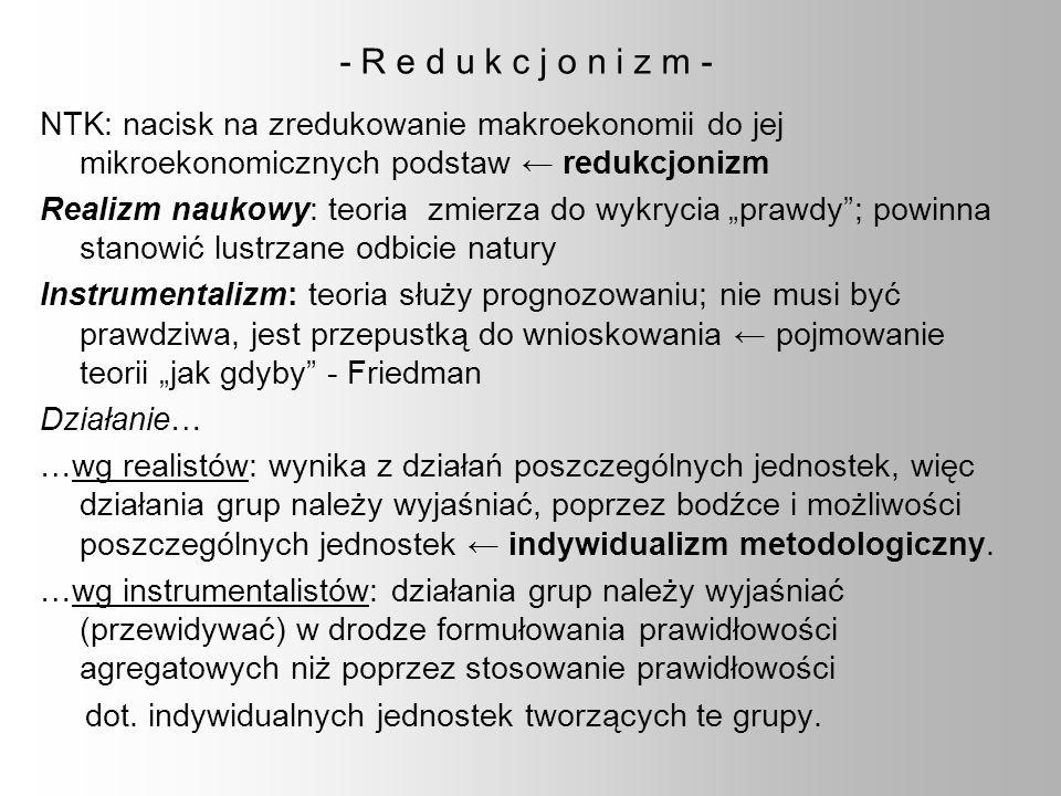 - R e d u k c j o n i z m - NTK: nacisk na zredukowanie makroekonomii do jej mikroekonomicznych podstaw redukcjonizm Realizm naukowy: teoria zmierza d