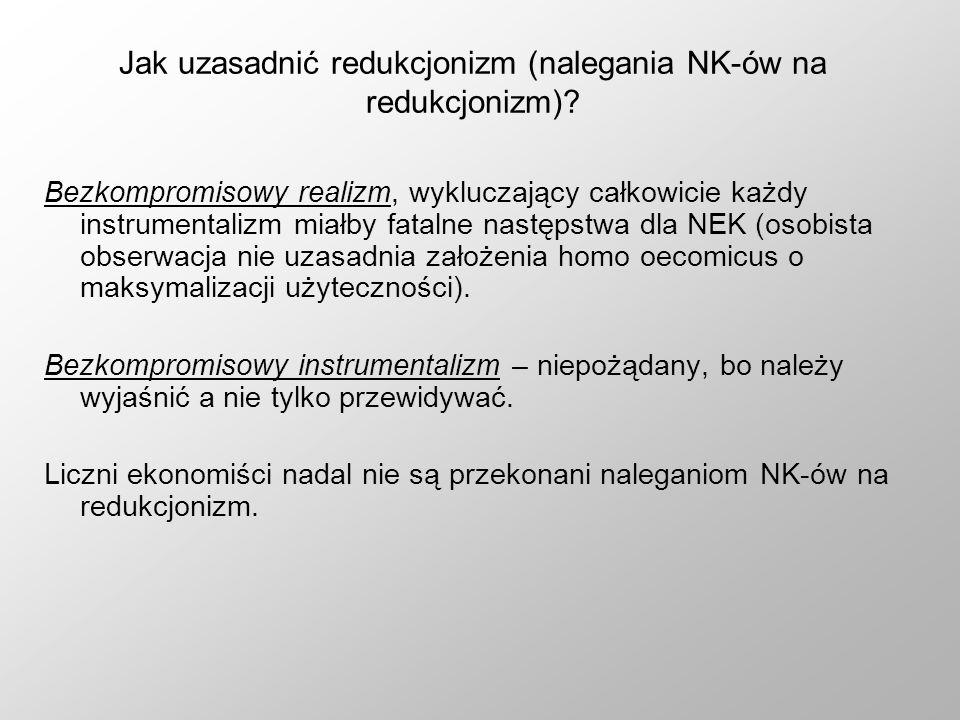 Jak uzasadnić redukcjonizm (nalegania NK-ów na redukcjonizm)? Bezkompromisowy realizm, wykluczający całkowicie każdy instrumentalizm miałby fatalne na