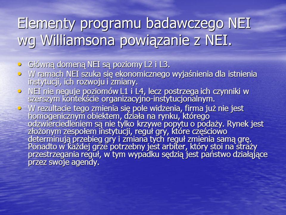 Elementy programu badawczego NEI wg Williamsona powiązanie z NEI. Główną domeną NEI są poziomy L2 i L3. Główną domeną NEI są poziomy L2 i L3. W ramach