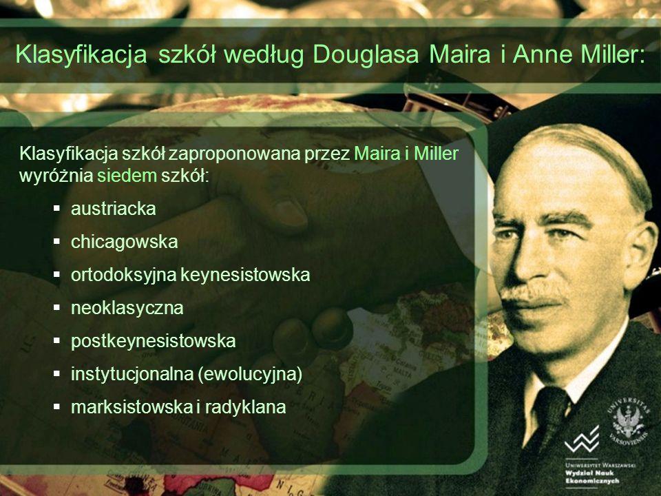 Klasyfikacja szkół według Douglasa Maira i Anne Miller: Klasyfikacja szkół zaproponowana przez Maira i Miller wyróżnia siedem szkół: austriacka chicag