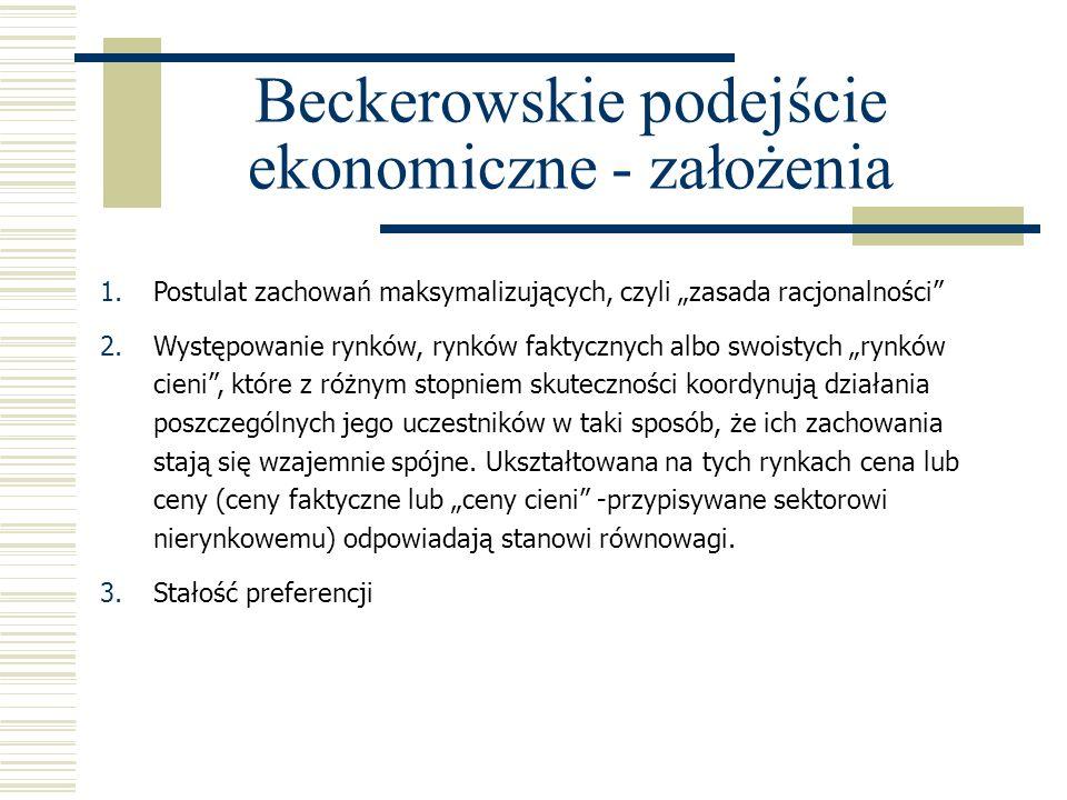 Beckerowskie podejście ekonomiczne - założenia 1.Postulat zachowań maksymalizujących, czyli zasada racjonalności 2.Występowanie rynków, rynków faktycz