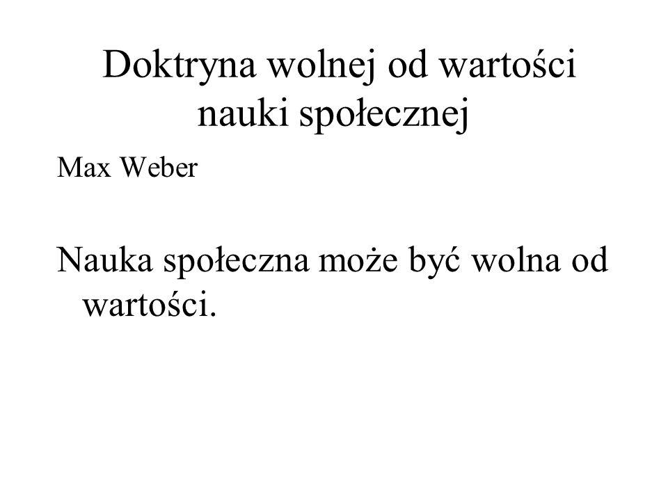 Doktryna wolnej od wartości nauki społecznej Max Weber Nauka społeczna może być wolna od wartości.