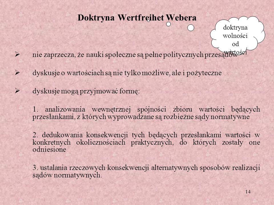 14 Doktryna Wertfreihet Webera nie zaprzecza, że nauki społeczne są pełne politycznych przesądów dyskusje o wartościach są nie tylko możliwe, ale i po