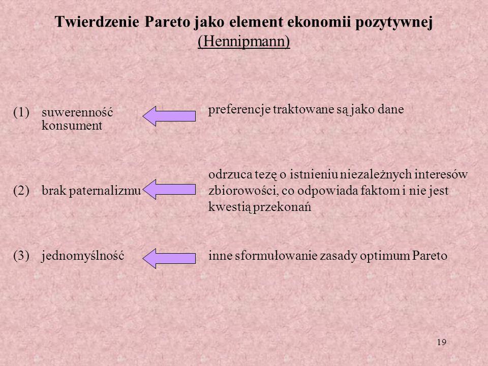19 Twierdzenie Pareto jako element ekonomii pozytywnej (Hennipmann) (1)suwerenność konsument (2)brak paternalizmu (3)jednomyślność preferencje traktow