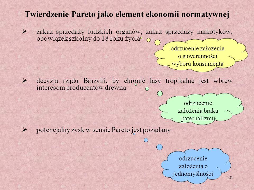20 Twierdzenie Pareto jako element ekonomii normatywnej zakaz sprzedaży ludzkich organów, zakaz sprzedaży narkotyków, obowiązek szkolny do 18 roku życ